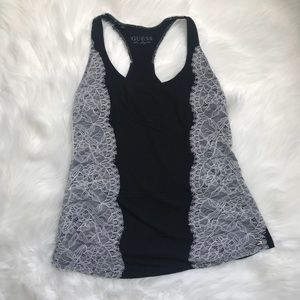Guess Racerback Lace Trimmed Tank Top - Sz Small
